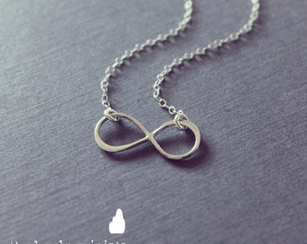 Sterling Silver Infinity Necklace - Infinity Charm Suspended on Sterling Silver Fine Cable Chain - Perfect Gift - The Lovely Raindrop