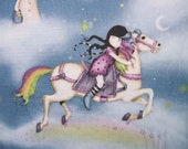 Rainbow Dreams Girl Horse Clouds Santoro Quilting Treasures Asian Fabric Yard