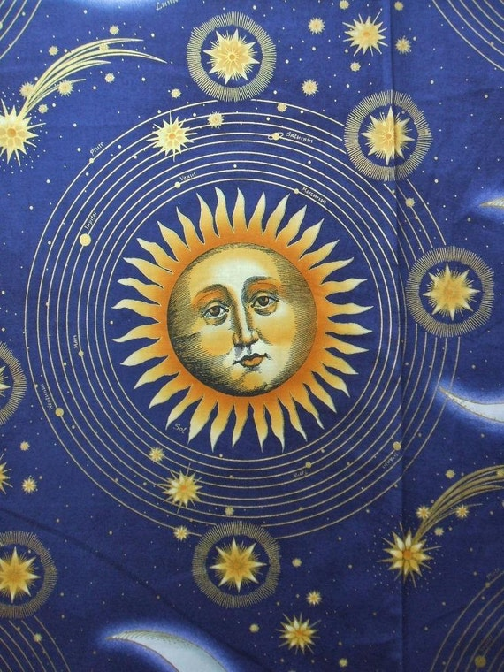 Celestial collection large sun moon star blue in the for Celestial fabric by the yard
