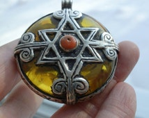 Vintage Morocco Amber Silver Star of David Pendant