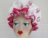 "Shower Cap Women's Waterproof Washable ""Dottie Rose"" Shower Cap"