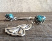Vintage turquoise and stamped sterling silver dangle earrings by Running Bear trading post Gallup, Southwest silver turquoise earrings