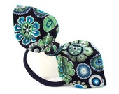 Floral Ponytail Bow Blue and Green Stocking Stuffer Hair Bow for Teens and Tweens Pony Tail Holder Small Gift Ideas Cute Hair Accessories