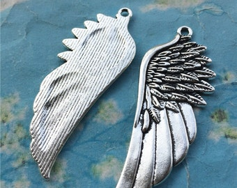 10pcs 58x23mm tibetan silver wing charms--large size