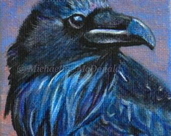 Blue Raven - raven art, raven print, blue raven, raven gift, bird art, wildlife art,