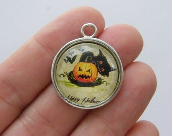 4 Happy Halloween black cat charms antique silver tone HC14