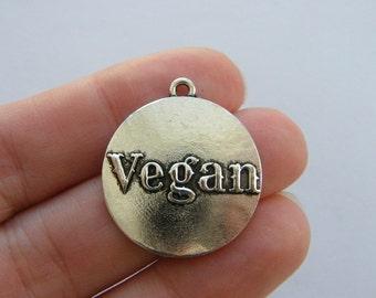 2 Vegan charms antique silver tone FD340