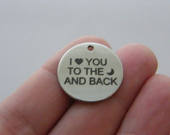 1 I love you to the moon and back charm 20mm  stainless steel TAG9-2