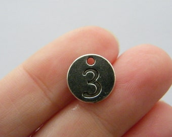 BULK 50 Number 3 charms antique silver tone