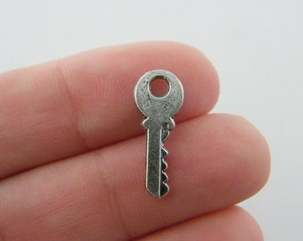 16 Key charms antique silver tone K65