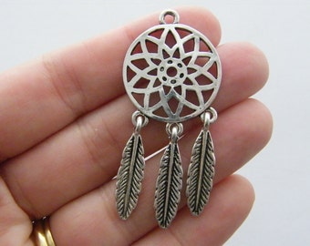 2 Dream catcher charms antique silver tone M630
