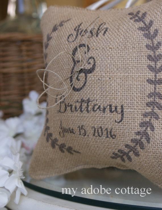 Free US Shipping...Sweet Rustic Wedding Ring Bearer with Laurel Wreath Burlap Ring Bearer Pillow