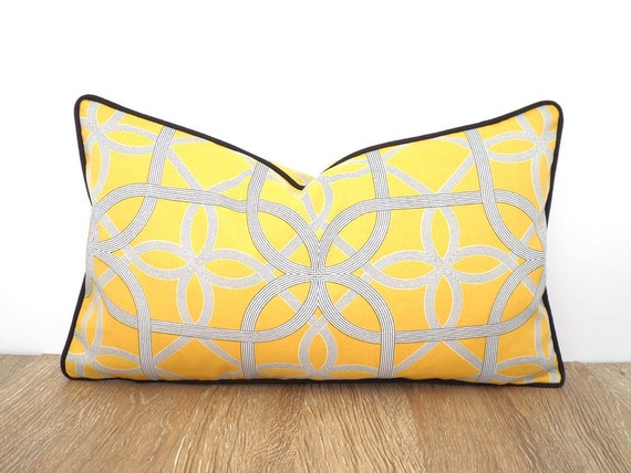 Modern Outdoor Lumbar Pillows : Yellow outdoor pillow case modern outdoor patio decor
