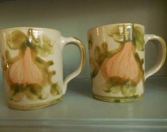A Pair of John B Taylor Stoneware Harvest Pear Mugs