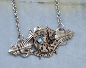 silver art deco, vinage style steampunk Art deco silver necklace, silver steampunk, steam punk necklace, aquamarine blue, ooak, statement