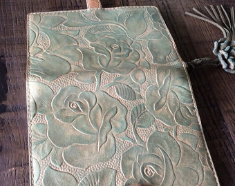 leather planner, hand dyed, antique aqua, rose planner, leather binder, planner binder, rustic planner, handstitched, natural diary