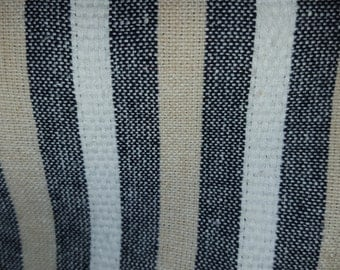 Canvas Woven STRIPE BLACK Tan White COTTON Upholstery Fabric, 20-17-13-0814