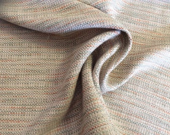 Tan cream aqua orange SLUBBY WOVEN upholstery fabric home decor, 16-43-24-115