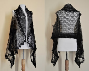 Black Lace Fringe Curved Scarf Vest, Shawl, Goth, Glamour, Steampunk, Boho, Bohemian, Gypsy, Thanksgiving, Christmas