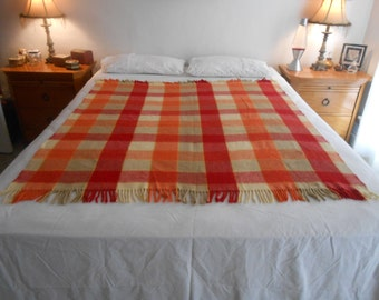 "Mid Century Plaid Acrylic Throw/Bed/Couch/Chair Throw/Stadium Blanket/56"" Length by 50.5"" Width"
