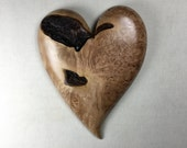 Personalized wooden heart wood carving Wedding Anniversary present