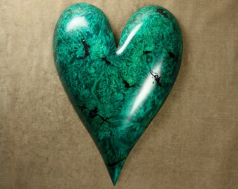 Wood carving of a green wood heart personalized Anniversary Gift