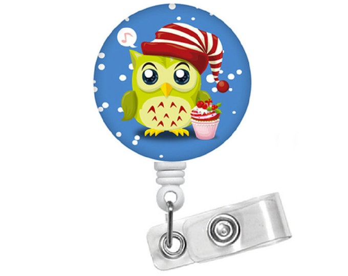"Christmas Owl with Hat 1.5"" Button - Badge Reels - Cute Badge Reel - Nurses Badge Holder - Nurse Badge - Teacher Badge - Gift under 10"