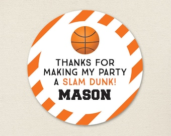 Basketball Party Favor Stickers - Sheet of 12 or 24