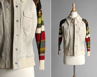 Vintage 1970's Rib Knit and Leather Fall Jacket - Coat Striped Sweater Green White Red 70s Boho Retro Country Western Suede - Size Medium