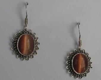 Jewelry Rescue Vintage Sterling  Earrings Tiger Eye Like Stone