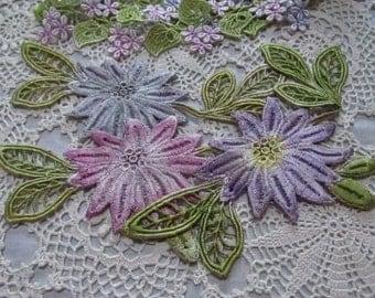 Lace Flower Hand Dyed Venise Applique Emebllishment