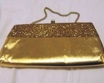 Gold Glitter Purse/ 1970's Fun Clutch