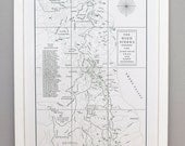 The High Sierra and the John Muir Trail Map, Letterpress Art Print