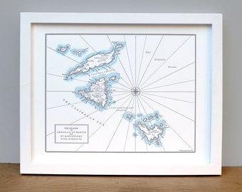 St. Barths, St. Martin, and Anguilla Letterpress Map Print