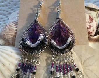 Purple String Art with Fringe Earrings
