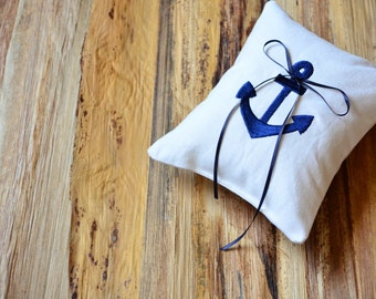 Ring Bearer Pillow Beach Wedding Bride Embroidered Navy Blue Anchor Nautical Wedding