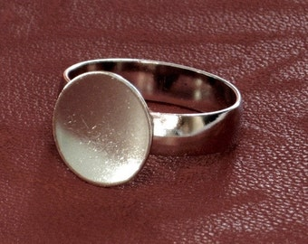 Blank Ring bases 8 Expandable top Silver plated 12mm pad Bases sm to size large 1st Quality