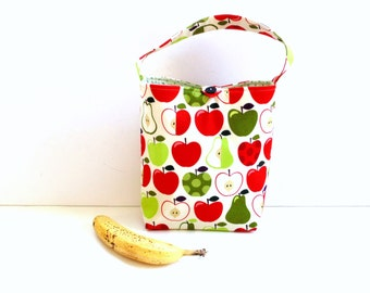 Insulated lunch tote bag, apples pears fabric, bag with handle, button closure, back to school, student lunch sack, lunch bag