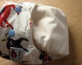 Birch Organics, Horse print, one size pocket diaper with organic bamboo insert