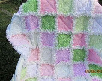 Baby girl rag quilt, minky, pink, green, polka dots