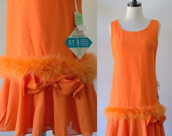 1960s Dress Orange Party Dress Womens Mini Dress Drop Waist Sleeveless Cocktail Dress Summer Dresses for Womens Cocktail Dress Small Petite