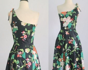 Vintage Sundress Womens Summer Dress Floral Sundress 1980s Midi Dress 1980s Dress 80s Dress Womens Dresses Size XS SM Extra Small