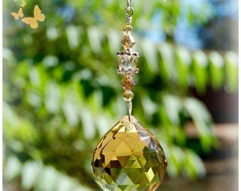 Topaz Prism Crystal Suncatcher, Rearview Mirror Car Charm, Window Decoration, Ceiling Light Pull, Fan Pull Ornament
