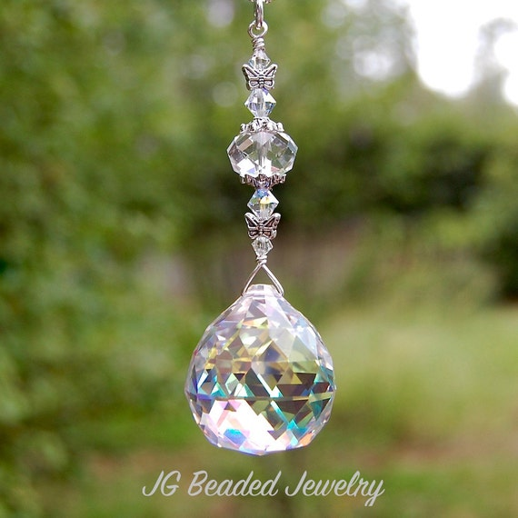 Hanging Butterfly Prism Crystal Suncatcher Rearview Mirror