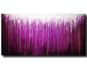 Large Abstract paintings - 24 X 48 -Art -by Artist JMJartstudio- -Wall art-wall decor -Serenity- -PURPLE