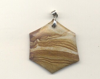 Tom's hand made lapidary picture jasper pendant 1112