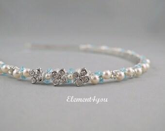 Bridal hair band, Bridesmaid headband, Something Blue wedding, Flower girl accessories, Wedding hair do Ivory white Aqua Pool blue crystals,