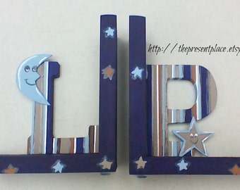 Special as is SALE,LP letters, LP letter bookends,moons,stars,stripes,personalized bookends,blues,browns,boys bookends,childrens bookends