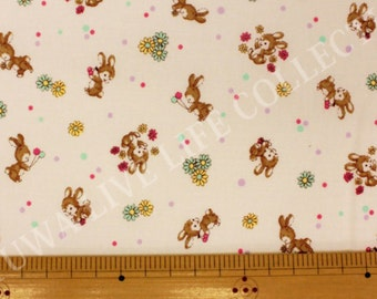 Yuwa Live Life Sunday 9 am white bunny Japanese quilt fabric - zakka