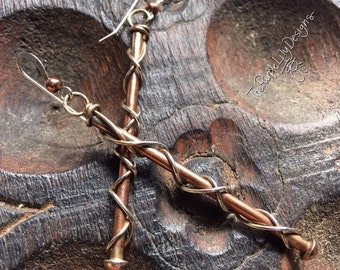 Mixed Metal Branch Copper and Silver earrings, ThePurpleLilyDesigns
